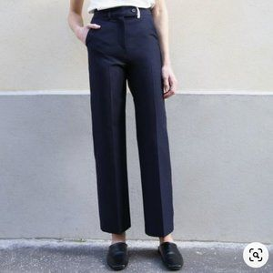 Frankie Shop Navy Flat Front Straight Leg Trousers